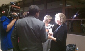 Don's friend and character witness Mara Miller speaks to reporters directly after the verdict, about 11:30 pm on 4/14.